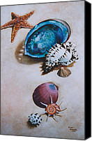 Abalone Seashell Canvas Prints - A Day at the Beach Canvas Print by Eve Riser Roberts