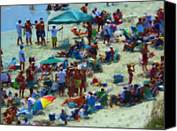 Talking Canvas Prints - A Day At The Beach Canvas Print by Jeff Breiman