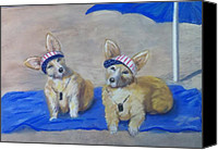 Corgies Canvas Prints - A Day at the Beach Canvas Print by Trudy Morris