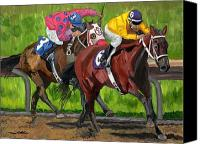 Race Horse Prints Canvas Prints - A Day At The Races Canvas Print by Michael Lee