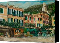 Italian Mediterranean Art Canvas Prints - A Day in Portofino Canvas Print by Charlotte Blanchard