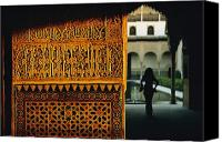 Adult Only Canvas Prints - A Decorated Wall In The Alhambra Canvas Print by Thomas J. Abercrombie