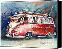 Deluxe Canvas Prints - A Deluxe 15 Window VW Bus Canvas Print by Michael David Sorensen