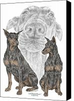 Dobermann Canvas Prints - A Doberman Knows - Dobe Pinscher Dog Art Print Canvas Print by Kelli Swan