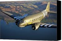 Aircraft Photo Canvas Prints - A Douglas C-53 Skytrooper In Flight Canvas Print by Scott Germain