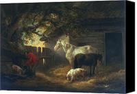 Simple Painting Canvas Prints - A farmyard Canvas Print by George Morland