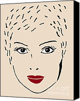 Young Drawings Canvas Prints - A fashion model Canvas Print by Frank Tschakert