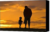 Talking Photo Canvas Prints - A Father And His Baby Son Watch Canvas Print by Jason Edwards