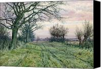 Watercolor On Paper Canvas Prints - A Fenland Lane with Pollarded Willows Canvas Print by William Fraser Garden