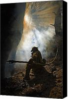 Adult Only Canvas Prints - A Firefighter Blasts Water In Attempts Canvas Print by Mark Thiessen