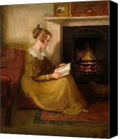 Sat Canvas Prints - A Fireside Read Canvas Print by William Mulready