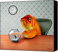 Orange Mixed Media Canvas Prints - A Fish Out Of Water Canvas Print by Carrie Jackson
