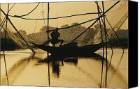 Adult Only Canvas Prints - A Fisherman Sets His Nets Canvas Print by Dick Durrance Ii