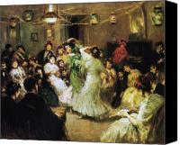 Oil Lamp Canvas Prints - A Flamenco Party at Home Canvas Print by Francis Luis Mora