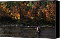 Autumn Scenes Canvas Prints - A Fly-fisherman Lays Out A Perfect Cast Canvas Print by Paul Nicklen