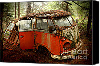 Deluxe Canvas Prints - A Forgotten 23 Window VW Bus  Canvas Print by Michael David Sorensen
