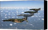 Demonstration Photo Canvas Prints - A Formation Of F-4 Phantom Ii Fighter Canvas Print by Stocktrek Images