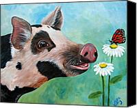 Pig Painting Canvas Prints - A friend for Pippy Canvas Print by Laura Carey