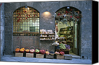 Fruit Markets Canvas Prints - A Fruit And Vegetable Shop In Siena Canvas Print by Taylor S. Kennedy