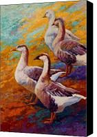 Rooster Canvas Prints - A Gaggle Of Four - Geese Canvas Print by Marion Rose