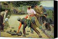 Old Fashioned Painting Canvas Prints - A Game of Bourles in Flanders Canvas Print by Remy Cogghe