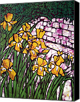 Impressionism Tapestries - Textiles Canvas Prints - A Garden of Irises Batik Canvas Print by Kristine Allphin