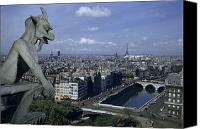 River View In Paris Canvas Prints - A Gargoyle On Notre Dame Looks Canvas Print by Justin Locke
