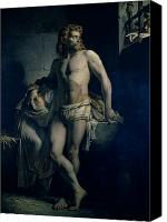 Scared Painting Canvas Prints - A Gaul and his Daughter Imprisoned in Rome Canvas Print by Felix-Joseph Barrias