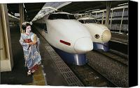 Rail Vehicles Canvas Prints - A Geisha Waits On The Station Platform Canvas Print by Paul Chesley