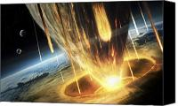 Judgment Day Canvas Prints - A Giant Asteroid Collides Canvas Print by Tobias Roetsch