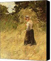 A Girl Harvesting Hay Canvas Prints - A Girl Harvesting Hay Canvas Print by Eugene Leon Labitte