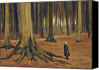 Scared Painting Canvas Prints - A Girl in a Wood Canvas Print by Vincent van Gogh