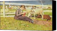 Sat Canvas Prints - A Girl Knitting Canvas Print by Giovanni Segantini