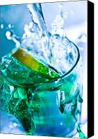 Blue Glass Art Canvas Prints - A Glass Of Water Canvas Print by MrsRedhead Olga