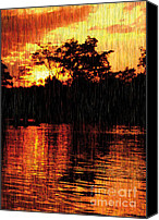 Sunset Mixed Media Canvas Prints - A Golden Day Canvas Print by Eakaluk Pataratrivijit