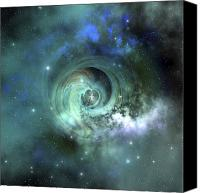 No People Digital Art Canvas Prints - A Gorgeous Nebula In Outer Space Canvas Print by Corey Ford