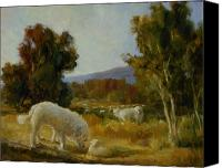Great Painting Canvas Prints - A Great Pyrenees with a Lamb Canvas Print by Lilli Pell