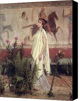 Ancient Greece Painting Canvas Prints - A Greek Woman Canvas Print by Sir Lawrence Alma-Tadema