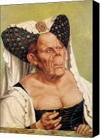 Caricature Painting Canvas Prints - A Grotesque Old Woman Canvas Print by Quentin Massys