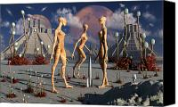 Rocketship Canvas Prints - A Group Of Alien Reptoid Beings Find Canvas Print by Mark Stevenson