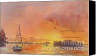 Boston Painting Canvas Prints - A Hingham Sunset Canvas Print by Laura Lee Zanghetti