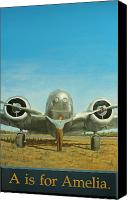 Airplane Painting Canvas Prints - A is for Amelia Canvas Print by Laurie Stewart