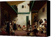 Orientalist Canvas Prints - A Jewish wedding in Morocco Canvas Print by Ferdinand Victor Eugene Delacroix