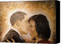 Barack And Michelle Obama Canvas Prints - A Kiss for A Queen  Canvas Print by Keenya  Woods