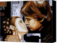Empire Painting Canvas Prints - A Kiss from a Scoundrel Canvas Print by Al  Molina