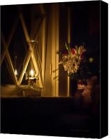 Oil Lamp Canvas Prints - A Lamp in the Window for My Love Canvas Print by Straublund Photography