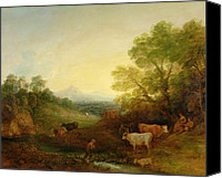 Setting Canvas Prints - A Landscape with Cattle and Figures by a Stream and a Distant Bridge Canvas Print by Thomas Gainsborough
