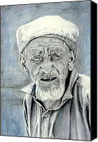Elderly Canvas Prints - A Life Time Canvas Print by Enzie Shahmiri