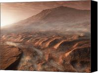 Canyon Craters Canvas Prints - A Light Fog Forms In A Desiccated Gully Canvas Print by Steven Hobbs