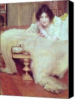 Alma-tadema; Sir Lawrence (1836-1912) Canvas Prints - A Listener - The Bear Rug Canvas Print by Sir Lawrence Alma-Tadema